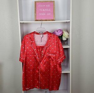 Victoria's Secrets Red Floral PJ Set SZXL